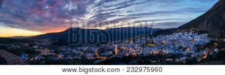 Panorama Night City Of Chefchaouen Morocco. Blue City In Night Lights. Journey Through Morocco, Magi