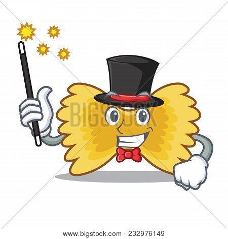 Magician Farfalle Pasta Mascot Cartoon Vector Illustration