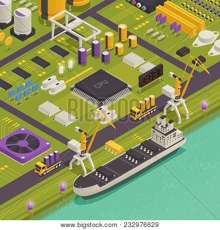 Semiconductor Electronic Components Assembled On Printed Circuit Board As Harbor Freight Barge Vesse