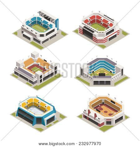 Worlds Famous Biggest Sport Competitions Stadiums Arenas And Basketball Court Buildings Isometric Ic