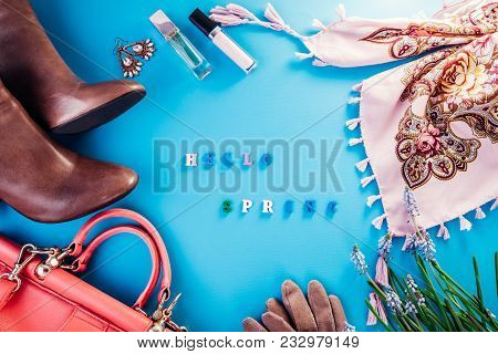 Hello Spring . Spring Female Look. Combination Of Clothes, Shoes And Accessories On Blue Background.