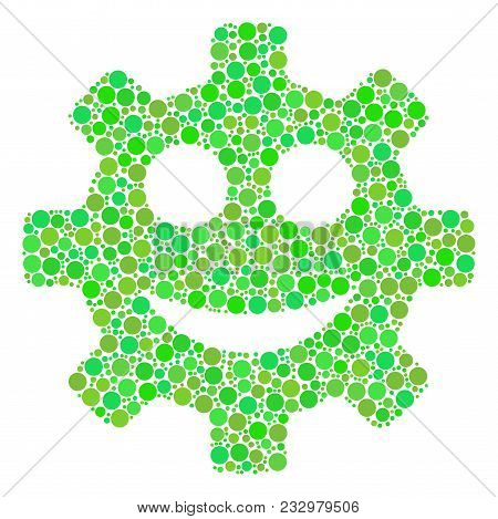Gear Smile Smiley Mosaic Of Filled Circles In Various Sizes And Fresh Green Color Tones. Vector Dots