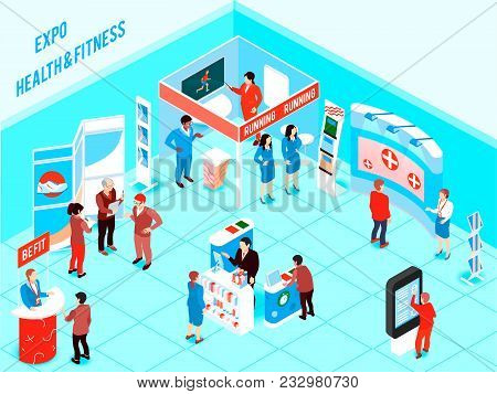 People Visiting Health And Fitness Expo With Promotional Stands And Various Products For Healthy Lif