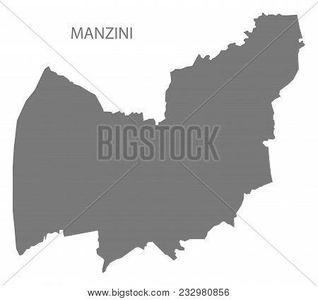 Manzini Map Of Swaziland Grey Illustration Shape
