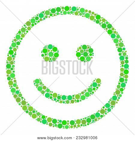 Glad Smiley Composition Of Filled Circles In Variable Sizes And Fresh Green Color Tints. Vector Dots