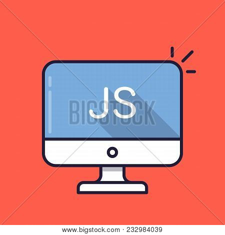 Computer With Js Word On Screen. Javascript Scripting Language. Web Development, Create Js Script, C