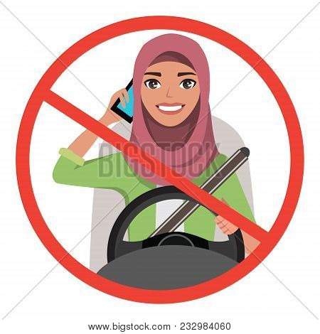 Muslim Woman Driving A Car Talking On The Phone. Muslim Woman Wearing Hijab. Vector Cartoon Characte