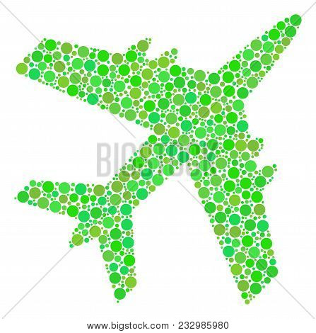 Jet Plane Collage Of Filled Circles In Various Sizes And Eco Green Color Hues. Vector Circle Element