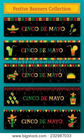 Set Of 5 Celebration Cinco De Mayo Web Banner. Horizontal Vector Illustration With Pinata And Taco,