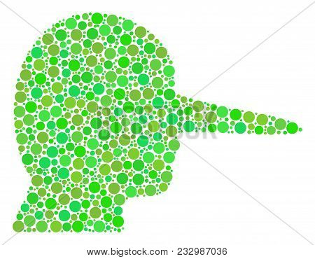 Lier Mosaic Of Dots In Variable Sizes And Ecological Green Color Tones. Vector Circle Elements Are O