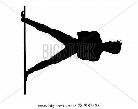 Man Pole Dance Is Element Starfish. Black Silhouette On A White Background. Pole Dance Vector Illust