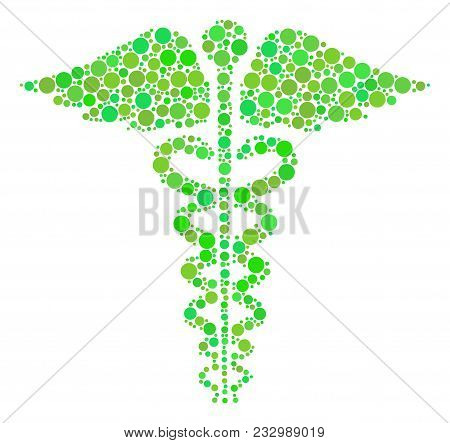 Medical Caduceus Emblem Collage Of Filled Circles In Various Sizes And Fresh Green Shades. Vector Do