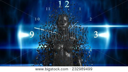 Digital composite of Digital composite image of 3d female over clock