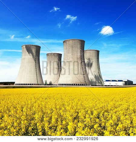 Nuclear Power Plant Dukovany, Cooling Tower With Golden Flowering Field Of Rapeseed, Canola Or Colza