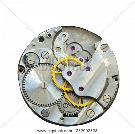 View Of Old Clock Mechanism With Gears And Cogs. Clockwork Old Mechanical. Close Up, Macro Shot. Vin