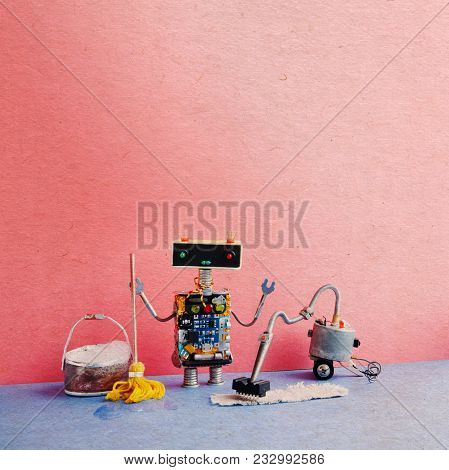 Automatic Robot Sweeper Cleaning Service. Creative Design Cyborg Toy Mopping Clean-up With Vacuum Cl