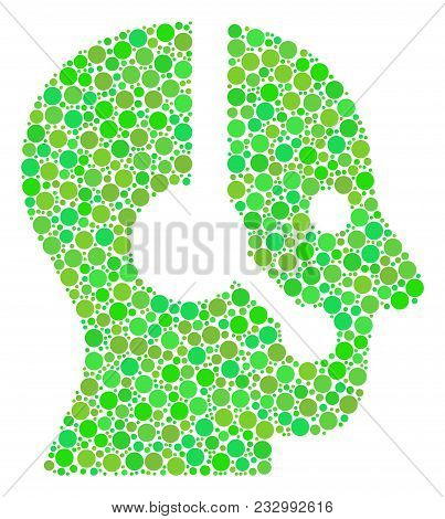 Operator Mosaic Of Dots In Variable Sizes And Green Color Hues. Vector Round Dots Are Combined Into