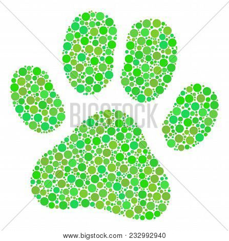 Paw Footprint Collage Of Circle Elements In Various Sizes And Eco Green Color Tones. Vector Round El