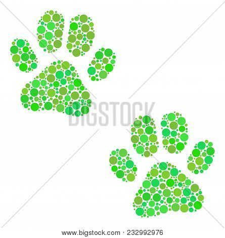 Paw Footprints Collage Of Circle Elements In Different Sizes And Ecological Green Color Tones. Vecto