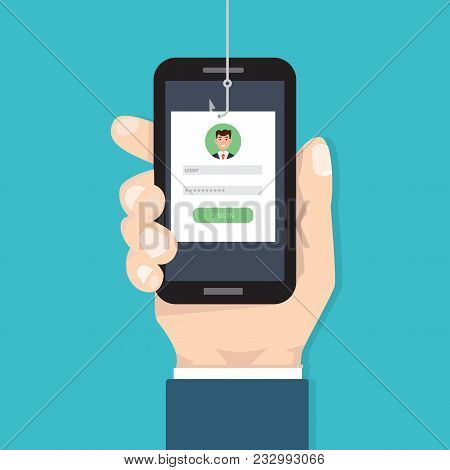 Data Phishing, Hacking Online Scam On Smartphone In Hand Concept. Fishing By Email, Envelope And Fis