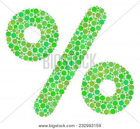 Percent Collage Of Circle Elements In Different Sizes And Fresh Green Color Hues. Vector Dots Are Or