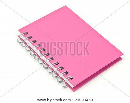 Stack Of Ring Binder Book Or Pink Notebook