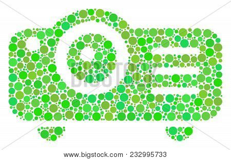 Projector Collage Of Circle Elements In Various Sizes And Eco Green Color Tints. Vector Dots Are Gro