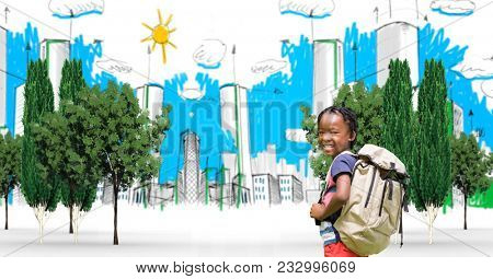 Digital composite of Digital composite image of child with backpack traveling in drawn city