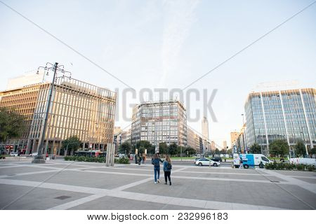 Milan, Italy - October 24, 2017: Piazza Duca d'Aosta Near Milano Centrale Railway Station.