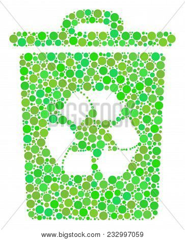 Recycle Bin Collage Of Dots In Variable Sizes And Fresh Green Color Tints. Vector Round Dots Are Gro