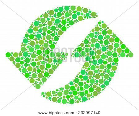 Refresh Composition Of Dots In Various Sizes And Eco Green Color Tinges. Vector Round Dots Are Unite