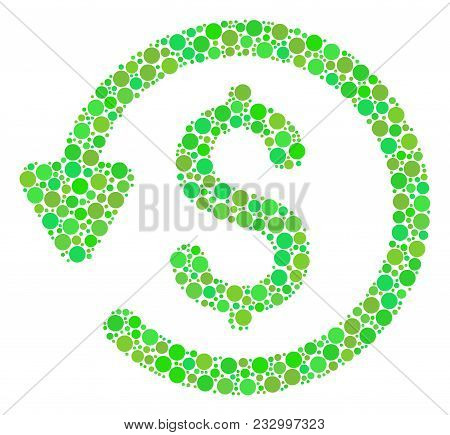 Refund Mosaic Of Filled Circles In Different Sizes And Eco Green Color Tints. Vector Circle Elements