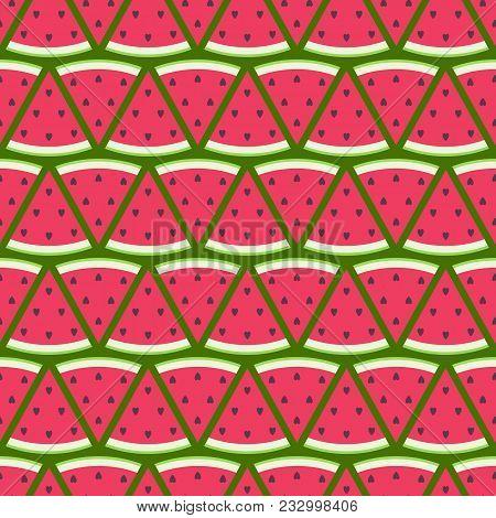 Watermelon Slices Seamless Pattern. Fruit Background. Triangle Geometric Design.