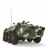 BTR-80 amphibious armoured personnel carrier on white background. 3D illustration poster