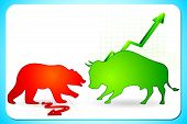 illustration of bull and bear on graph showing bullish and bearish market poster