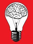 vector illustration of a brain light bulb poster