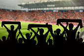 silhouettes of Soccer fans in a match and Spectators at football stadium poster