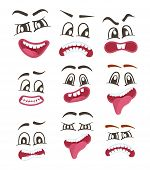 Funny smileys faces isolated icon set. Happiness, anger, joy, fury, sad, playful, fear, surprise smiley, eyes and mouth, funny comic faces. Emoji characters set with different expressions poster