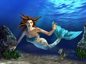 Beautiful mermaid swimming in a blue sea, surrounded by rocks, plants and fishes. Digital illustration. poster