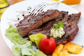 Grilled New York Strip Steak with Vegetables poster