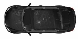 Car Isolated On White - Black Paint, Tinted Glass - Top View - 3d Rendering