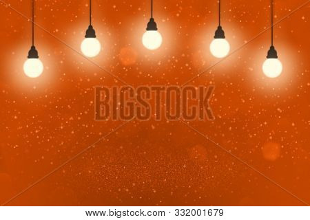 Red Fantastic Shiny Abstract Background Light Bulbs With Sparks Fly Defocused Bokeh - Festal Mockup