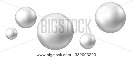 Realistic Natural Pearl. Jewel Gems. Shiny Silver Ball Isolated On White Background. Vector Jewelry