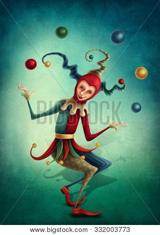 Illustration of a smiled jester