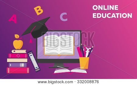 Online Reading, Learning Or Education Concept. Stack Of Books, Computer Screen With Open Book, Apple
