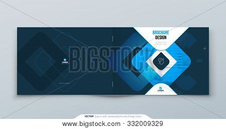 Horizontal Blue Brochure Design. A4 Cover Template For Brochure, Report, Catalog, Magazine. Horizont