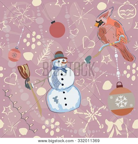 Seamless Pattern With Cute Snowman And Red Cardinal. Hand Drawn Scandinavian Style. Vector Illustrat