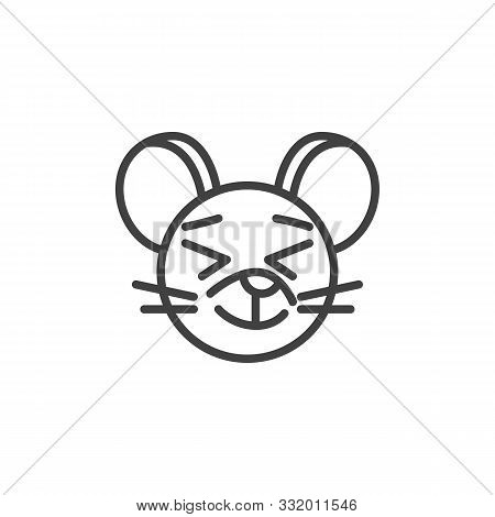 Satisfied Rat Emoticon Line Icon. Linear Style Sign For Mobile Concept And Web Design. Happy Mouse F