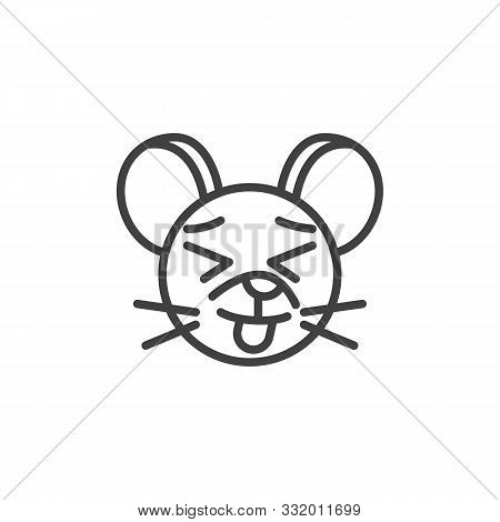 Showing Tongue Rat Emoticon Line Icon. Linear Style Sign For Mobile Concept And Web Design. Stuck-ou