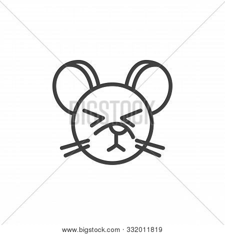 Dormant Rat Emoticon Line Icon. Linear Style Sign For Mobile Concept And Web Design. Sleeping Mouse